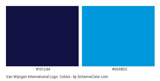 Van Wijngen International Logo - Color scheme palette thumbnail - #101244 #0098dc