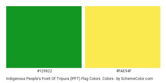 Indigenous People's Front of Tripura (IPFT) Flag Colors - Color scheme palette thumbnail - #129822 #fae94f