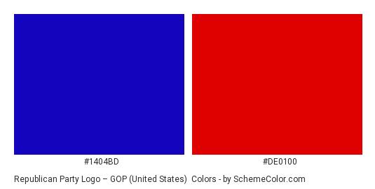 Republican Party Logo – GOP (United States) - Color scheme palette thumbnail - #1404bd #de0100