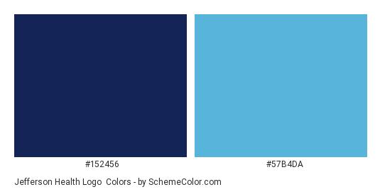Jefferson Health Logo - Color scheme palette thumbnail - #152456 #57b4da