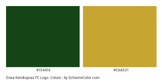 Doxa Katokopias FC Logo - Color scheme palette thumbnail - #154416 #c6a531