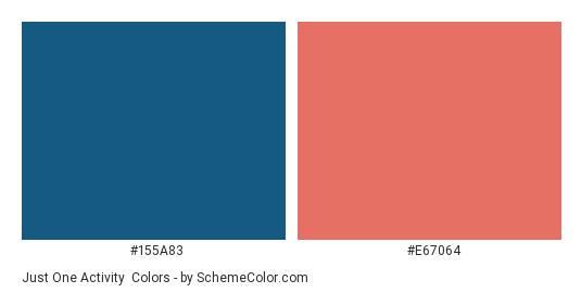 Just One Activity - Color scheme palette thumbnail - #155a83 #e67064