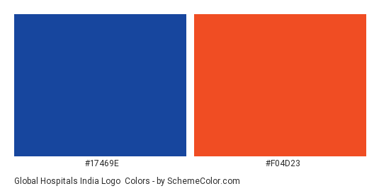 Global Hospitals India Logo - Color scheme palette thumbnail - #17469e #f04d23