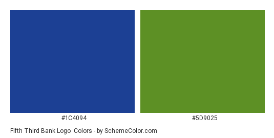 Fifth Third Bank Logo - Color scheme palette thumbnail - #1c4094 #5d9025