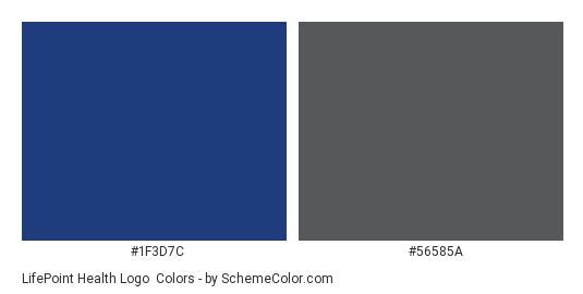 LifePoint Health Logo - Color scheme palette thumbnail - #1f3d7c #56585a
