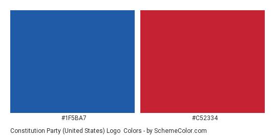 Constitution Party (United States) Logo - Color scheme palette thumbnail - #1f5ba7 #c52334