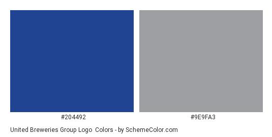 United Breweries Group Logo - Color scheme palette thumbnail - #204492 #9e9fa3