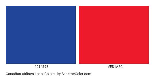 Canadian Airlines Logo - Color scheme palette thumbnail - #214598 #ed1a2c