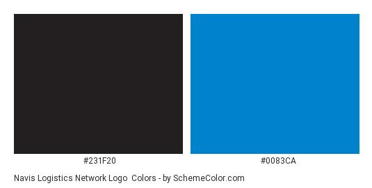 Navis Logistics Network logo - Color scheme palette thumbnail - #231f20 #0083ca