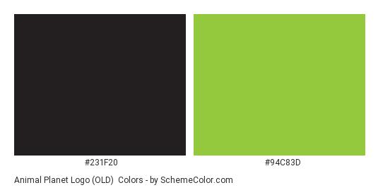 Animal Planet Logo (OLD) - Color scheme palette thumbnail - #231f20 #94c83d