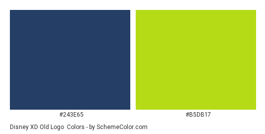 Disney XD Old Logo - Color scheme palette thumbnail - #243e65 #b5db17