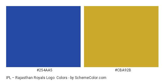 IPL – Rajasthan Royals Logo - Color scheme palette thumbnail - #254aa5 #cba92b
