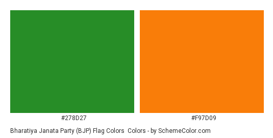 Bharatiya Janata Party (BJP) Flag Colors - Color scheme palette thumbnail - #278d27 #f97d09