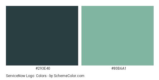 ServiceNow Logo - Color scheme palette thumbnail - #293e40 #80b6a1