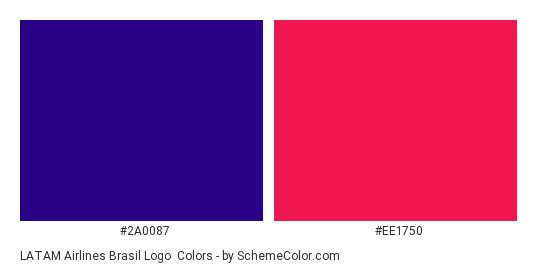 LATAM Airlines Brasil Logo - Color scheme palette thumbnail - #2a0087 #ee1750