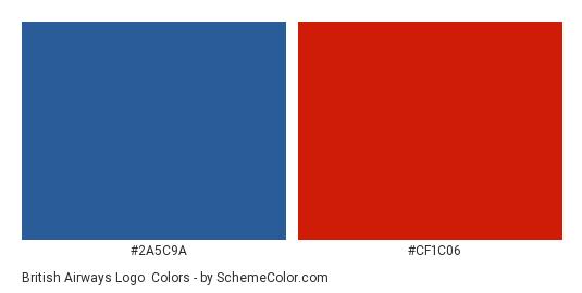 British Airways Logo - Color scheme palette thumbnail - #2a5c9a #cf1c06