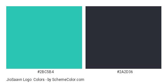 JioSaavn Logo - Color scheme palette thumbnail - #2bc5b4 #2a2d36