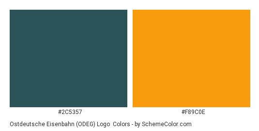 Ostdeutsche Eisenbahn (ODEG) Logo - Color scheme palette thumbnail - #2c5357 #f89c0e
