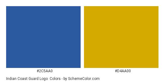Indian Coast Guard Logo - Color scheme palette thumbnail - #2c5aa0 #d4aa00