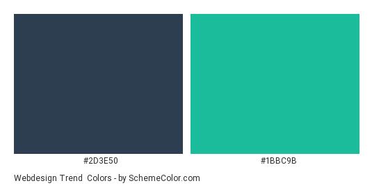 Webdesign Trend - Color scheme palette thumbnail - #2d3e50 #1bbc9b