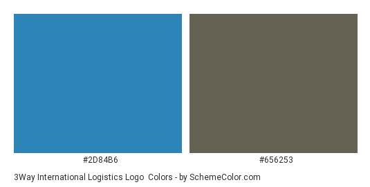 3Way International Logistics Logo - Color scheme palette thumbnail - #2d84b6 #656253