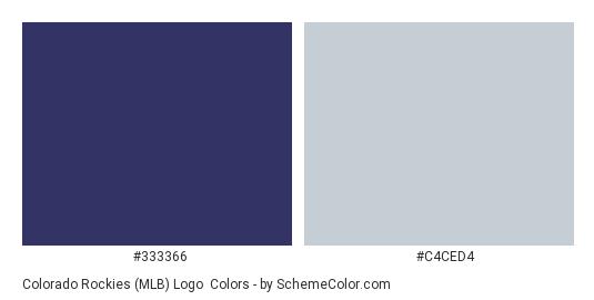 Colorado Rockies (MLB) Logo - Color scheme palette thumbnail - #333366 #c4ced4