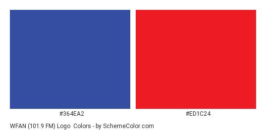 WFAN (101.9 FM) Logo - Color scheme palette thumbnail - #364ea2 #ed1c24