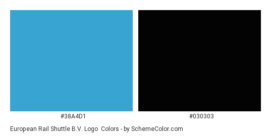European Rail Shuttle B.V. Logo - Color scheme palette thumbnail - #38a4d1 #030303