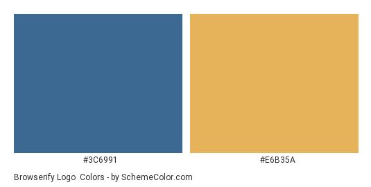 Browserify Logo - Color scheme palette thumbnail - #3c6991 #e6b35a