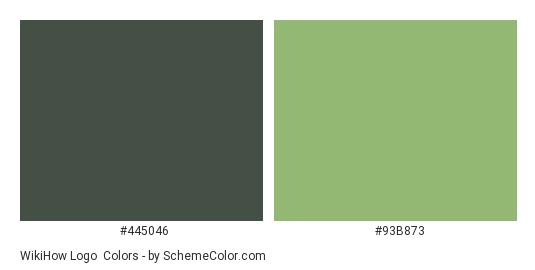 wikiHow Logo - Color scheme palette thumbnail - #445046 #93b873