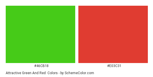 Attractive Green and Red - Color scheme palette thumbnail - #46CB18 #E03C31