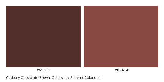 Cadbury Chocolate Brown Color Scheme Palette Thumbnail 522f2b 864841