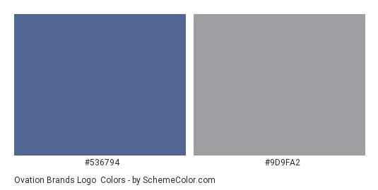 Ovation Brands Logo - Color scheme palette thumbnail - #536794 #9d9fa2