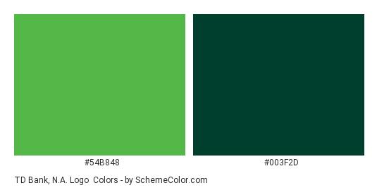 TD Bank, N.A. Logo - Color scheme palette thumbnail - #54b848 #003f2d