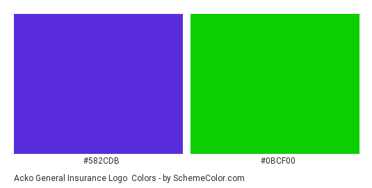 Acko General Insurance Logo - Color scheme palette thumbnail - #582cdb #0bcf00