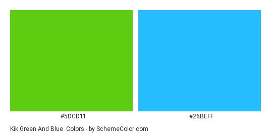 Kik Green and Blue - Color scheme palette thumbnail - #5DCD11 #26BEFF