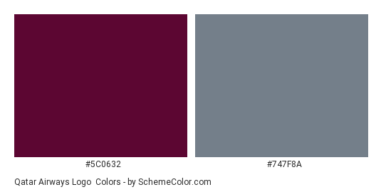 Qatar Airways Logo - Color scheme palette thumbnail - #5c0632 #747f8a