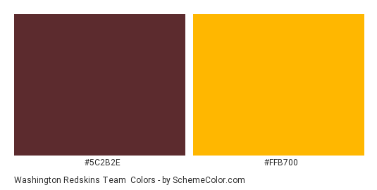 Washington Redskins Team - Color scheme palette thumbnail - #5c2b2e #ffb700