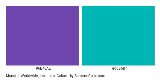 Monster Worldwide, Inc. Logo - Color scheme palette thumbnail - #6E46AE #00B6B4
