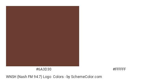 WNSH (Nash FM 94.7) Logo - Color scheme palette thumbnail - #6a3d30 #ffffff