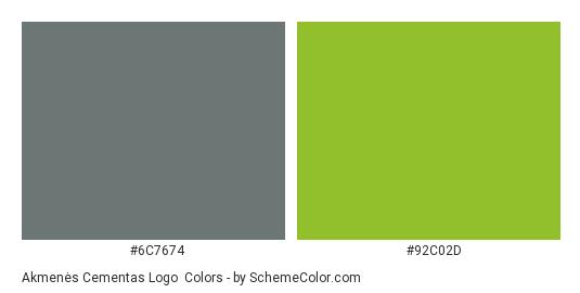 Akmenės Cementas Logo - Color scheme palette thumbnail - #6c7674 #92c02d