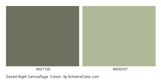 Desert Night Camouflage - Color scheme palette thumbnail - #6e715e #afb997