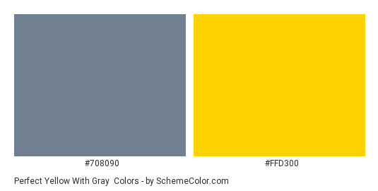 Perfect Yellow with Gray - Color scheme palette thumbnail - #708090 #FFD300