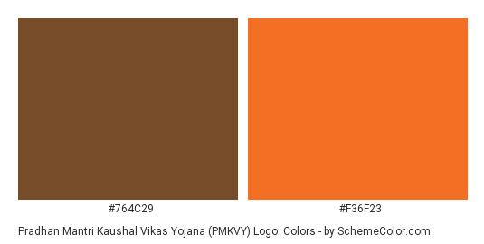 Pradhan Mantri Kaushal Vikas Yojana (PMKVY) Logo - Color scheme palette thumbnail - #764c29 #f36f23