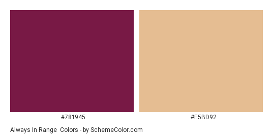 Always in Range - Color scheme palette thumbnail - #781945 #E5BD92