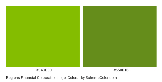 Regions Financial Corporation Logo - Color scheme palette thumbnail - #84bd00 #658d1b