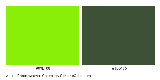 Adobe Dreamweaver - Color scheme palette thumbnail - #89ef08 #3d5136