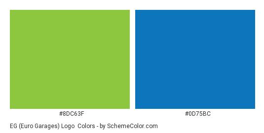 EG (Euro Garages) Logo - Color scheme palette thumbnail - #8dc63f #0d75bc