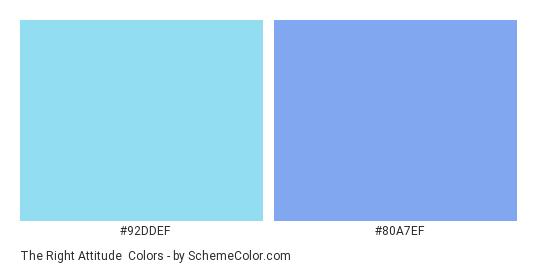 The Right Attitude - Color scheme palette thumbnail - #92DDEF #80A7EF