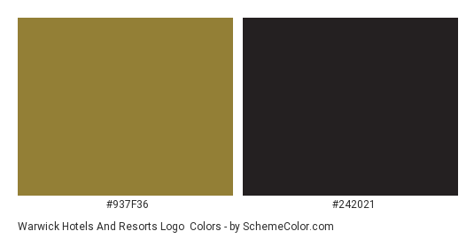 Warwick Hotels and Resorts Logo - Color scheme palette thumbnail - #937f36 #242021
